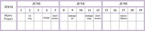 E-Myth Worldwide Controlling Calendar Sample